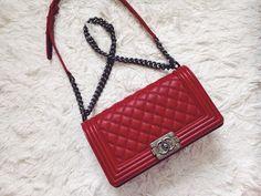 Red Chanel boy bag https://www.tradesy.com/bags/chanel-shoulder-bag-red-1172079/?tref=closet