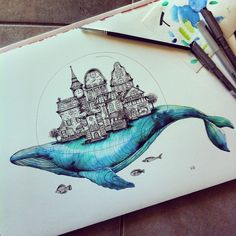 Love the whale, not sure about town on its back 'Whale Town' A3 sized print https://victoriahighet.bigcartel.com/