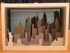 My daughter asked me to make a New York inspired card for her birthday, as the c. - Paper, Art and Inspiration - Birthday Card Design, Birthday Cards For Her, Silhouette Studio Designer Edition, Cardboard Crafts, Paper Crafts, Tunnel Book, Papier Diy, Skyline Art, Silhouette Art