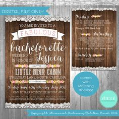 """Bachelorette Party Weekend Invitation & Itinerary """"Camping Weekend"""" Collection (Printable File Only) Rustic Girl's Weekend Cabin"""
