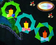 Learn how to make these cute xmas wreaths at http://origamimaniacs.blogspot.jp/2012/09/origami-christmas-wreath.html