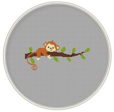 Сross stitch pattern, Monkey on tree, cross stitch pattern in PDF format, Instant Download, needlepoin