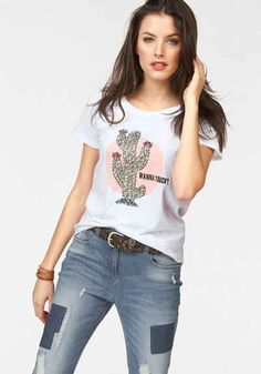 Aniston T-Shirt mit Pailletten Outfits, Tops, Women, Fashion, Mullet Haircut, Sequins, Clothing, Curve Dresses, Outfit