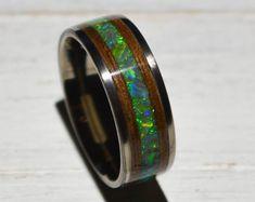Black opal Titanium opal ring opal engagement ring opal | Etsy Wood Inlay Rings, Wood Rings, Opal Wedding Rings, Opal Rings, Handmade Engagement Rings, Black Opal, Anniversary Rings, Future House, Rings For Men