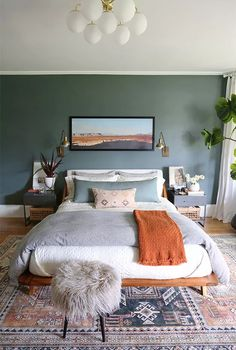 Bedroom Green, Dream Bedroom, Pretty Bedroom, White Wall Bedroom, Light Master Bedroom, Burnt Orange Bedroom, Light Green Bedrooms, Dark Bedroom Walls, Bedroom Frames