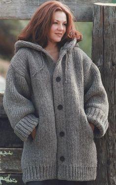 Free Knitted Cardigan Patterns   Free Knitting Pattern 60588 Hand-Knit Danbury Hooded Sweater Jacket ...