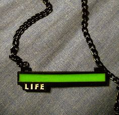 Glowing Life Bar Necklace  video game jewelry by CriticalHitShop, $18.00