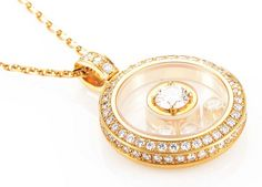 Chopard Happy Diamonds Round Pendant Necklace rose gold