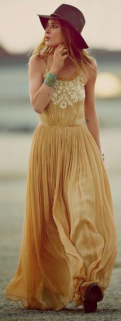 Free People Light Brown Pleated Maxi Boho Dress