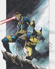 Cyclops & Wolverine - Dike Ruan, in Nick C's Dike Ruan Comic Art Gallery Room Marvel Comics Art, Fun Comics, Marvel Heroes, Comic Book Artists, Comic Artist, Comic Books Art, X Men, Wolverine Art, Marvel Characters