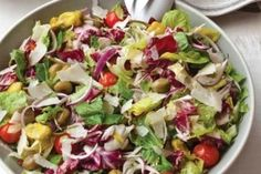 Big Italian Salad Part green salad part antipasto salad this recipe combines lettuce celery onion peperoncini olives and cherry tomatoesall tossed in a dressing made wit. Easy Dinner Party Recipes, Summer Recipes, Dinner Parties, Picnic Parties, Picnic Recipes, Picnic Ideas, Picnic Foods, Wine Recipes, Cooking Recipes