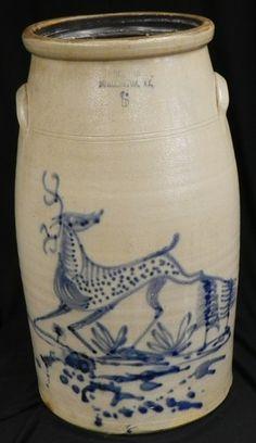 Woodworth, Burlington VT, Stoneware Churn Colbalt with Deer Antique Crocks, Old Crocks, Antique Stoneware, Stoneware Crocks, Stoneware Clay, Old Pottery, Pottery Plates, Glazes For Pottery, Vintage Pottery