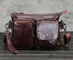 New Fashion Men Genuine Leather First Layer Cowhide Cross Body Messenger Shoulder Vintage Business Bag
