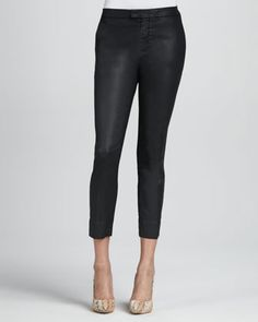 7 For All Mankind Coated Black Slim Chinos - Neiman Marcus