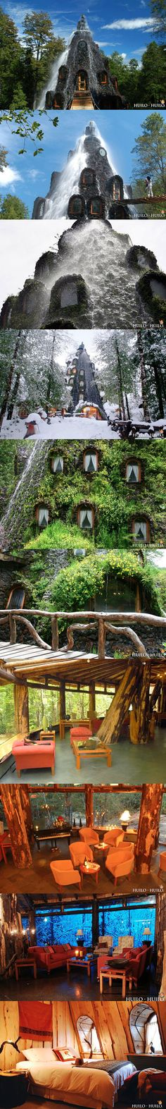 What you're looking at above is the Magic Mountain Hotel inside the Huilo-Huilo Biological Reserve in Chile, and not a fantasy movie set.