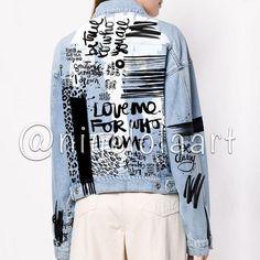 Hand painted jacket Jean jacket Art jacket Painted denim Grunge Custom text Graffiti jacket Bomber j Painted Denim Jacket, Painted Jeans, Painted Clothes, Hand Painted, Diy Jeans, Denim Kunst, Streetwear Jackets, Jean Jacket Outfits, Light Denim