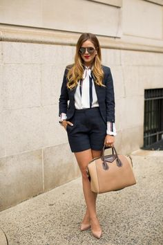 25 Spring Outfit Ideas with High Waisted Shorts - high waisted shorts + matching black blazer layered over a vertically striped blouse and styled with nude accessories