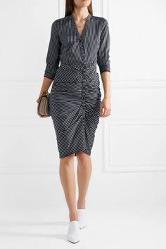 Veronica Beard | Sadie ruched striped cotton-twill midi dress | NET-A-PORTER.COM