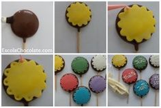 Veja como é fácil fazer pirulito de chocolate decorado com pasta americana! Acesse o blog escolachocolate.com e confira todos os detalhes passo a passo!