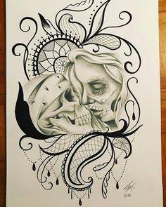 Woman kissing skull drawing #mexicanskull Chicanas Tattoo, Yogi Tattoo, Tattoo Flash, Lion Forearm Tattoos, Feather Tattoos, Skull Stencil, Tattoo Stencils, Tattoo Sketches, Tattoo Drawings