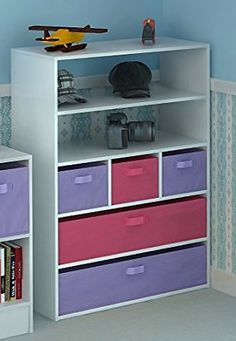 Home Source Kids Toy Storage Cabinet 5 Tiers 5 Canvas Drawers for Children's…