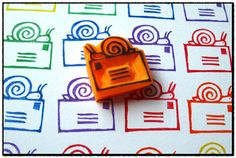 Snail Mail Hand Carved Stamp Unmounted by WereSowinLove on Etsy Diy Stamps, Handmade Stamps, Mail Art, Stencil, Snail Mail Pen Pals, Eraser Stamp, Fun Mail, Stamp Carving, Envelope Art