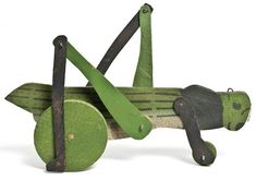 Grasshopper pull toy, painted wood, France, I love the website of the French cultural institution Les Arts Decoratifs ! Antique Toys, Vintage Toys, Baby Toys, Kids Toys, Wooden Fish, Pull Toy, Wood Toys, Handmade Toys, Painting On Wood