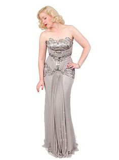 """Showstopping silver beaded vintage inspired evening gown is reminiscent of the """"Old Hollywood Glamour"""" styles of the and An elegant, timeless look that's sure to make you the center of attention at any black tie event, prom, or fancy dress ball! Vintage Hollywood Dresses, Hollywood Glamour Dress, Vintage Hollywood Wedding, Glamour Dresses, Classic Hollywood, Queen Wedding Dress, Chiffon Wedding Gowns, Lace Chiffon, Fancy Dress Ball"""