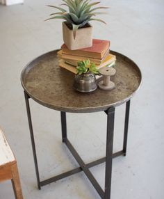 Distressed Folding Metal Tray Accent Table- CARGO