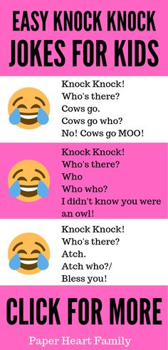 Hilarious knock knock jokes for kids, even really young kids! These knock knock jokes are funny and EASY to understand for children of all ages. Guaranteed to make your kids LOL! Complete with a joke printable, too. - Easy Knock Knock Jokes For Kids Clean Funny Jokes, Latest Funny Jokes, Extremely Funny Jokes, Short Jokes Funny, Funny Jokes In Hindi, Funny Jokes For Kids, Some Funny Jokes, Funny Jokes To Tell, Videos Funny
