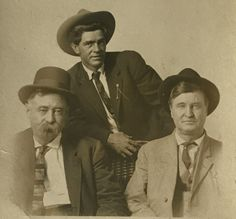 Virgil Earp, Tom Mix and Will Rogers on an early (pre Oct. 1905) R.P.P.C. Original image from the collection of P.W. Butler