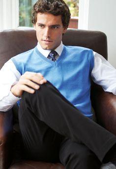 Detroit V-Neck Knit Sweater Pullover Vest. V-neck sweater in navy, light blue, royal blue, black or charcoal. Knitwear for teams. Knit Vest, Sweater Weather, Detroit, Knitwear, V Neck, Pullover, Knitting, Sweaters, Cotton