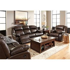Exceptional Lowest Price Online On All Ashley Branton 3 Piece Leather Reclining Sofa Set  In Antique