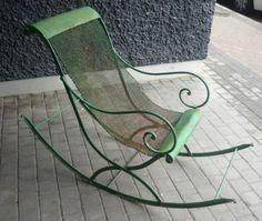 Mecedora verde de hierro y malla de hierro, del s. XIX - Antiguedades - Madrid - La Europea