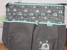 00c7035add56f0 New BABY BOOM Baby Elephant Girls Diaper bag 6 pockets Grey/Blue Elephant  Diaper Bag