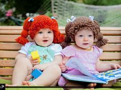 My Cabbage Patch Kid Inspired Hat crochet pattern was featured on ShareAPattern.com. photo by @jaebelle007 Jaebellephoto.biz.  Hats by TheLilliePad.Etsy.com