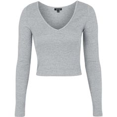 TopShop Ribbed v-Neck Top (49 BRL) ❤ liked on Polyvore featuring tops, shirts, crop tops, long sleeves, topshop, grey marl, v neck shirt, lightweight long sleeve shirt, long sleeve crop top and shirt crop top