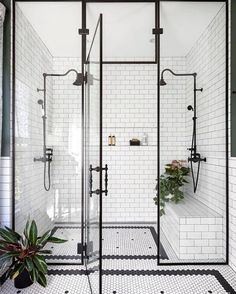 Home Interior Design black and white bathroom walk in shower with built in seat.Home Interior Design black and white bathroom walk in shower with built in seat Bad Inspiration, Bathroom Inspiration, Bathroom Inspo, Shower Bathroom, Master Shower, Bathroom Carpet, Shower Tiles, Cool Bathroom Ideas, Glass Bathroom Door
