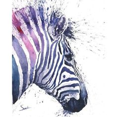 ZEBRA PRINT watercolor zebra painting, zebra decor, nursery decor,... ❤ liked on Polyvore featuring home, home decor, wall art, animal paintings, water color painting, watercolor painting, water colour painting and zebra painting