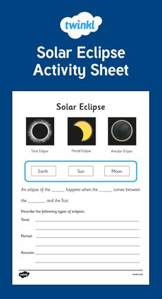 This Solar Eclipse Activity Sheet gives your children the opportunity to show how much they've learned about eclipses - Twinkl Social Studies Worksheets, Science Worksheets, Phonics Worksheets, Science Lessons, Science Fun, Weird Science, Science Ideas, Numbers Kindergarten, Free Kindergarten Worksheets