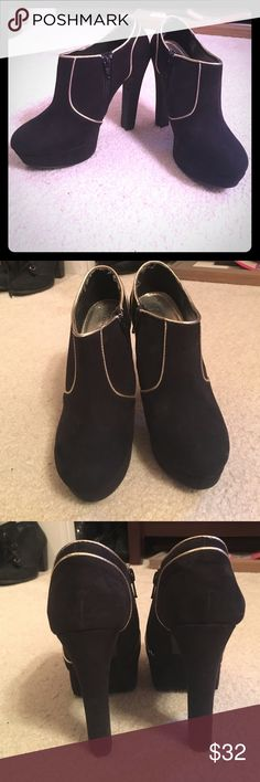 Black & Gold Booties In great condition. Express Shoes