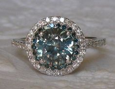 1.85 Carat Untreated Blue Green Montana Sapphire and Blue Diamonds in White Gold Diamond Double Halo Engagement Ring, by JuliaBJewelry on Etsy