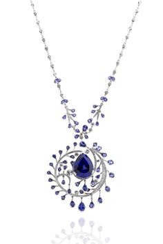 'Underwater Dreams' from 'Ocean of Dreams' - A Wonderland Collection.  Precious tanzanite stones are encircled by smaller diamonds, evoking an image of delicate aquatic foliage.  http://www.boodles.com/high-jewellery