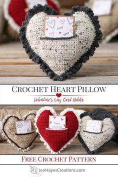 Free Crochet Heart Pillow Pattern - Jen Hayes Creations Knitting TechniquesKnitting For KidsCrochet PatronesCrochet Scarf Crochet Patterns For Beginners, Knitting Patterns, Crochet Pillow Patterns Free, Crochet Gifts, Free Crochet, Valentines Card Holder, Heart Pillow, Knot Pillow, Bolster Pillow