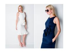 The Camilyn Beth Fiona Dress in Ivory and Navy.    SS16