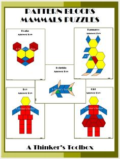 Pattern Blocks Mammals Puzzles by A Thinker's Toolbox. Pattern Blocks Puzzles are a fun and creative way for your students to explore shapes and symmetry. Included are 5 mammal puzzles; a kangaroo, koala, dolphin, boy and girl.
