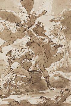 Ubaldo Gandolfi (San Matteo della Decima Ravenna) , The Sacrifice of Isaac Dark Drawings, Ink Pen Drawings, Classic Paintings, Old Paintings, Rennaissance Art, Observational Drawing, Historical Art, Anatomy Art, Arte Pop