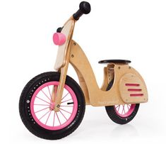 Not only is this balance bike made of eco-friendly rubber and FSC certified birch, but it looks like a Vespa! I want one! Guess I'll have to settle on one for my daughters. $110 US
