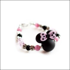 Minnie Mouse Polymer Clay Black and Pink Flower Bracelet
