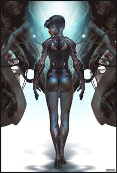 Future, Cyberpunk, Cyber Girl by MOROZOFF